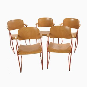 Italian Red Metal and Plywood Desk Chairs, 1960s, Set of 6