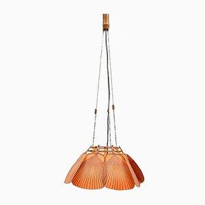Lámpara de techo modelo Uchiwa alemana de bambú y papel de arroz de Ingo Maurer para M design, años 70