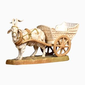 Antique Ram and Cart Sculpture from Royal Dux