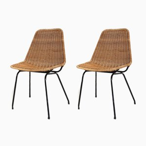 Dutch Rattan and Metal Dining Chairs by Dirk Van Sliedregt for Rohé Noordwolde, 1960s, Set of 2