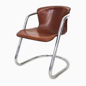 Italienischer Esszimmerstuhl mit verchromtem Gestell & Sitzfläche aus braunem Leder von Willy Rizzo für Cidue, 1970er