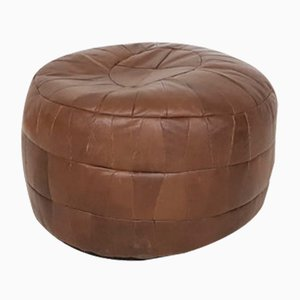 Patchwork Leather Pouf, 1950s