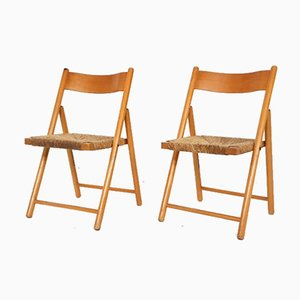 Beech and Rush Folding Chairs, 1960s, Set of 2