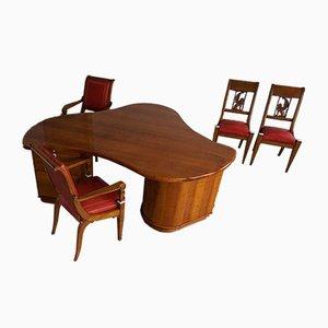 Französisches Art Déco Schreibtisch & Stühle Set, 1930er