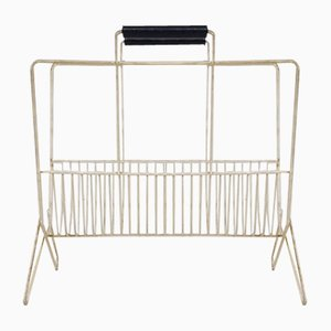White Metal Magazine Rack, 1950s