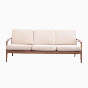 Mid-Century 3-Sitzer Sofa mit Gestell aus Teak