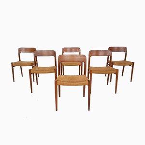 Dänische Modell 75 Esszimmerstühle mit Sitz aus Papierkordelgeflecht von Niels Otto Møller für J.l. Moller, 1950er, 6er Set