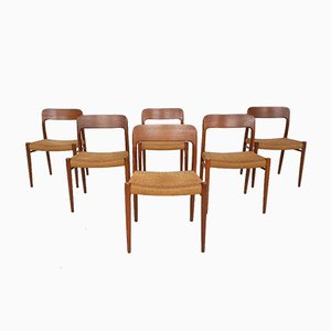 Danish Model 75 Papercord Dining Chairs by Niels Otto Møller for J.l Moller, 1950s, Set of 6