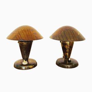 Lámparas de mesa de latón de Josef Hurka para Napako, años 30. Juego de 2