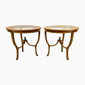 Vintage Charles X Style Mahogany Veneer Side Tables, 1920s, Set of 2