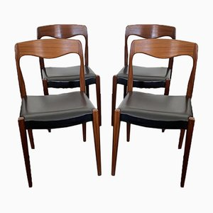 Scandinavian Teak Dining Chairs from Niels O. Moller, 1950s, Set of 4