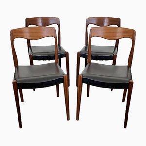 Skandinavische Esszimmerstühle aus Teak von Niels O. Moller, 1950er, 4er Set