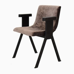 Mid-Century Italian Black and Gray Velvet Armchair from Olivetti Synthesis, 1960s