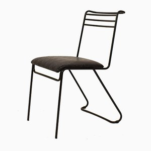 Italian Metal and Leather Memphis Dining Chair, 1980s