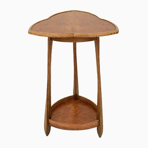 Art Nouveau French Walnut and Oak Triangular Side Table by Louis Majorelle
