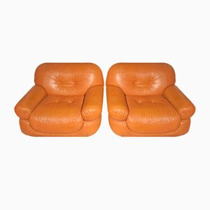 Leather Easy Chairs, 1970s, Set of 2