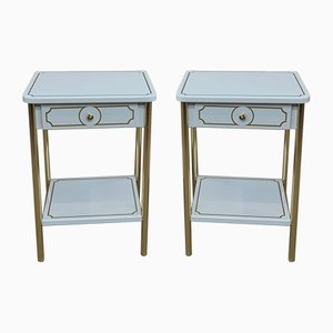 White Lacquered Metal and Brass Nightstands from Resistub, 1970s, Set of 2