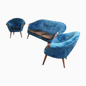 Juego de sofá y poltronas danés de Nanna Ditzel, años 50