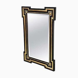 Specchio da parete antico dorato ebanizzato, Francia, metà XIX secolo