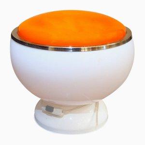 Lámpara de mesa era espacial en blanco y naranja, años 50