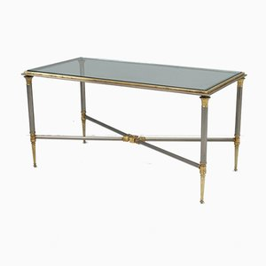 Mid-Century Glass and Brass Coffee Table, 1950s