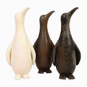 Esculturas de pingüino suecas de Gunnar Nylund para Rörstrand, años 50. Juego de 3