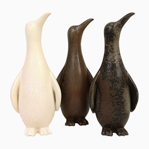 Sculptures de Pingouin par Gunnar Nylund pour Rörstrand, Suède, 1950s, Set de 3
