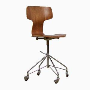 Dänischer Modell 3103 Schreibtischstuhl von Arne Jacobsen für Fritz Hansen, 1950er