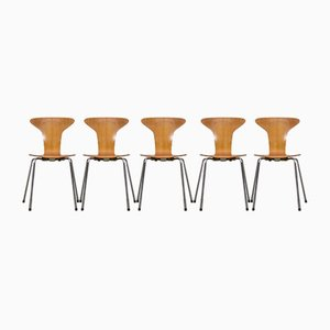 Danish Model Mosquito Dining Chairs by Arne Jacobsen for Fritz Hansen, 1950s, Set of 5