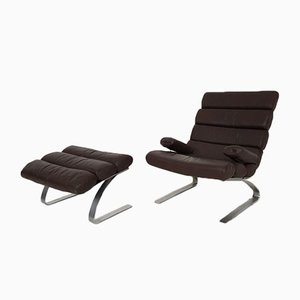 German Brown leather Model Sinus Lounge Chairs by Reinhold Adolf And Hans Jürgen Schräpfer for Cor, 1976, Set of 3