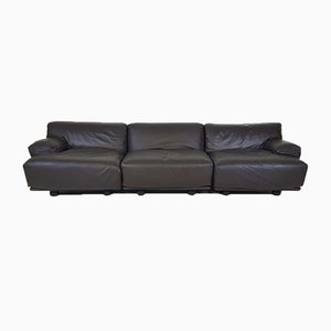 Dark Brown Leather 3-Seater Modular Sofa by Vico Magistretti for Cassina, 1970s