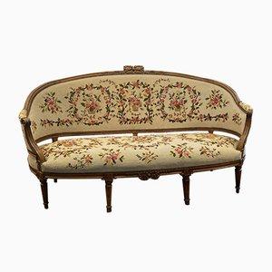 Large Antique Louis XVI Walnut Sofa, 1780s