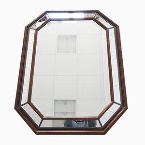 Espejo Art Déco de vitral y madera, años 30