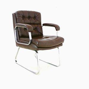 Chaise de Bureau Vintage en Chrome et Cuir, 1970s