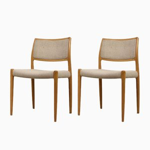 Danish Model 80 Dining Chairs by Niels Otto Møller for J.L. Møllers, 1950s, Set of 4