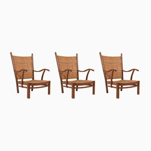 Oak and Straw Armchairs from Bas Van Pelt, 1940s, Set of 3