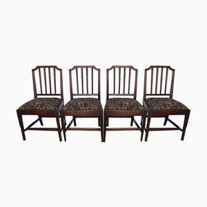 Antike georgische Esszimmerstühle aus Mahagoni, 4er Set