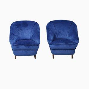 Sillones Mid-Century de terciopelo azul de Gio Ponti, años 30. Juego de 2