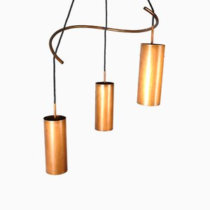 Mid-Century Copper Triple Cylinder Pendant Lamp, 1960s