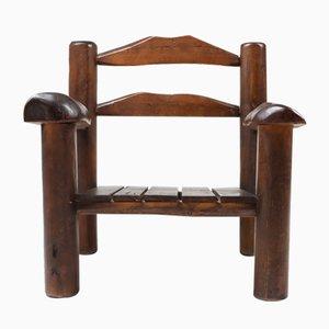 Rustikaler Armlehnstuhl aus Holz, 1950er