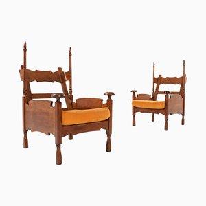 Poltrona in quercia con tavolino regolabile, anni '50