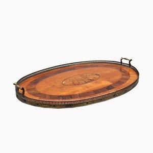 Vassoio in legno di seta e ottone, XIX secolo