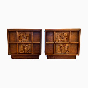 Oak Nightstands from Lane Furniture, 1970s, Set of 2