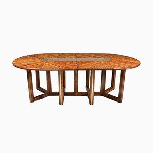 Tavolo da pranzo regolabile in vimini, anni '70