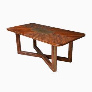 Tavolo da pranzo rettangolare regolabile in vimini, anni '70