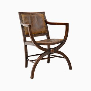 Antique Leather and Mahogany Armchair