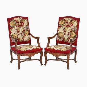 Barocke Vintage Armlehnstühle mit bestickten Bezügen, 2er Set