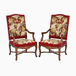 Vintage Baroque Style Embroidered Armchairs, Set of 2