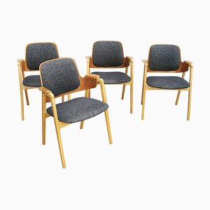 Mid-Century Scandinavian Teak and Beech Armchairs by Elias Barup for Gärsnäs, Set of 4