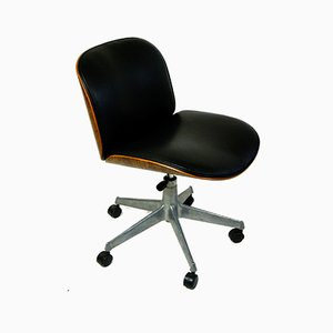 Mid-Century Italian Black Leather and Oak Desk Chair by Ico Luisa Parisi for MIM, 1960s